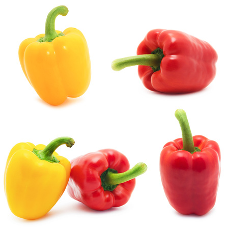 Set of different views of bell peppers isolate on white background 版權商用圖片
