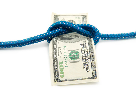 tied up: money tied up with rope Stock Photo