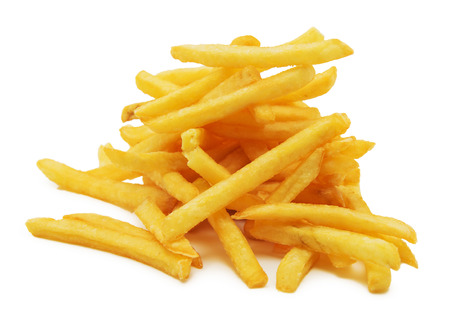 fatty food: a pile of appetizing french fries on a white background Stock Photo