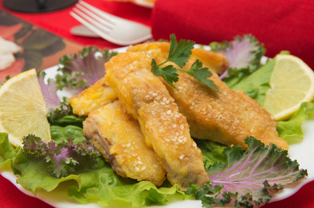 Delicious spiced catfish escalope in sesame photo