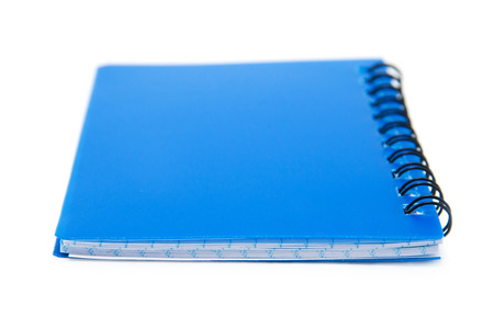 stack of ring binder book or blue notebook isolated on white background photo