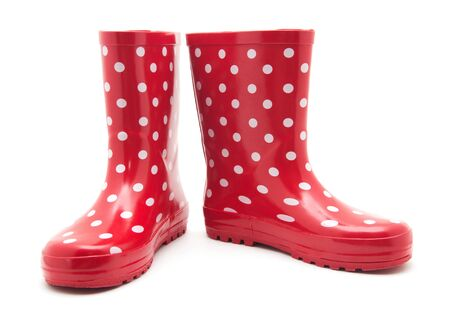 galoshes: red boots on white
