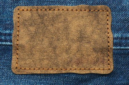 inner wear: Leather jeans label sewed on jeans.