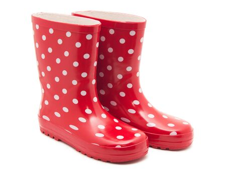 welly: red boots on white