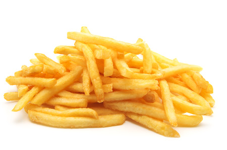 a pile of appetizing french fries on a white background Banco de Imagens