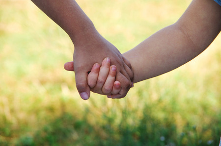 kids holding hands: kids holding hands Stock Photo