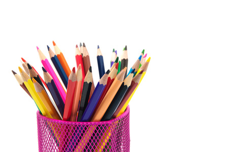 metall and glass: Color pencils isolated on white