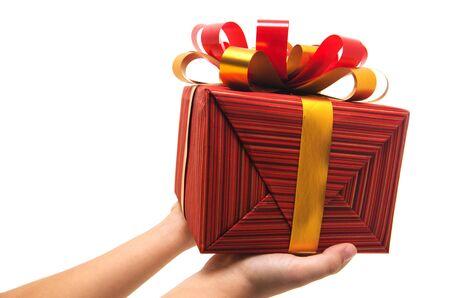 christmas gift: Hand holding christmas gift