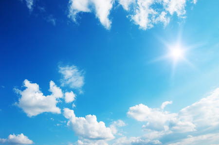 scenery: Sun in blue sky.