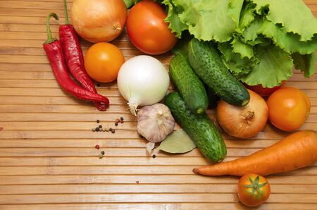 vegetables on wooden background photo