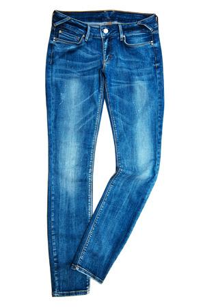 in jeans: Blue Jeans aislados en blanco Foto de archivo
