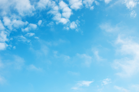 clear skies: White clouds in blue sky.