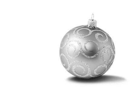 Silver christmas ball on white background Stock Photo