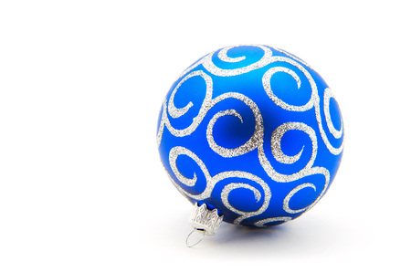 blue sphere: Blue Christmas toy ball, isolated on white background Stock Photo