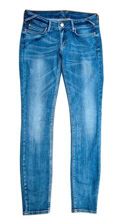 de vaqueros: Blue Jeans aislados en blanco Foto de archivo