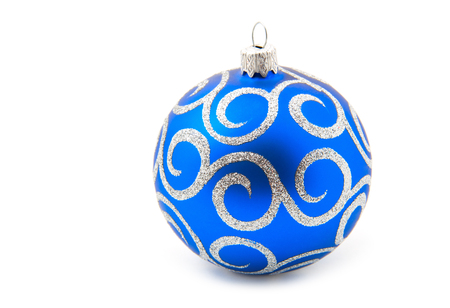 christmas toy: Blue Christmas toy ball, isolated on white background Stock Photo