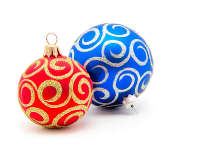 christmas element: Christmas balls red and blue on a white background Stock Photo