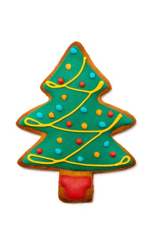 Gingerbread tree isolated on white background. Christmas cookie Фото со стока