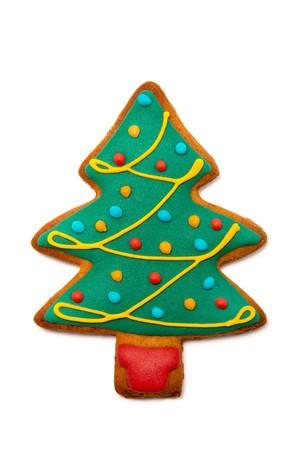 galletas de jengibre: árbol de pan de jengibre aislado en el fondo blanco. galleta de la Navidad