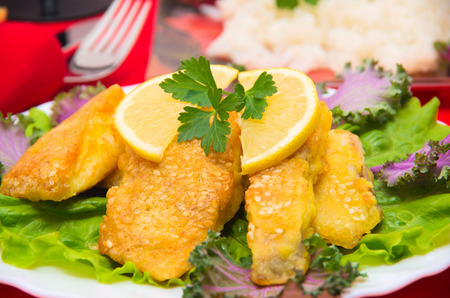 spiced: Delicious spiced catfish escalope in sesame Stock Photo