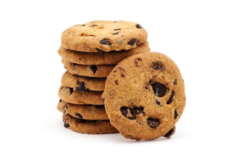 chocolate chip cookie: Chocolate chip cookie on white