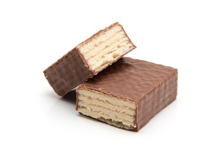 chocolate waffles isolate on white Zdjęcie Seryjne