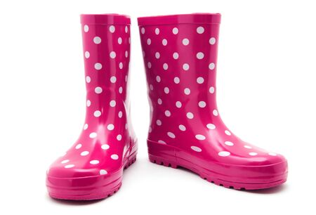 galoshes: Pink boots on white Stock Photo