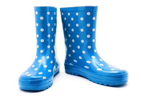 galoshes: Blue boots on white