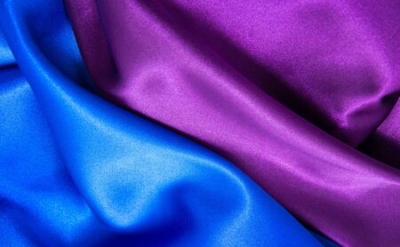blue satin: pink and blue satin fabric for background Stock Photo