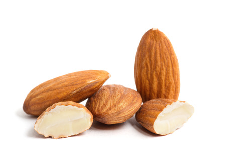 almond: group of almonds isolated on white