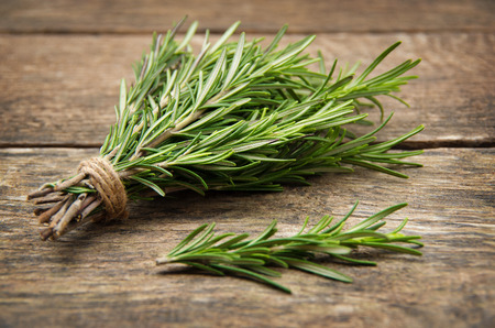 Rosemary bound on a wooden board