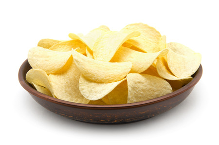 Potato chips isolated white background. Stock Photo