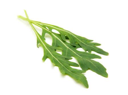 rukola: Fresh arugula leaves. Isolated on white background. Stock Photo