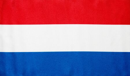holand: Fabric texture of the flag of Holland Stock Photo