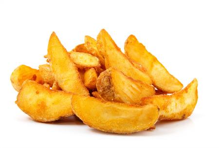 튀긴 감자 쐐기. 패스트 푸드. 화이트 절연