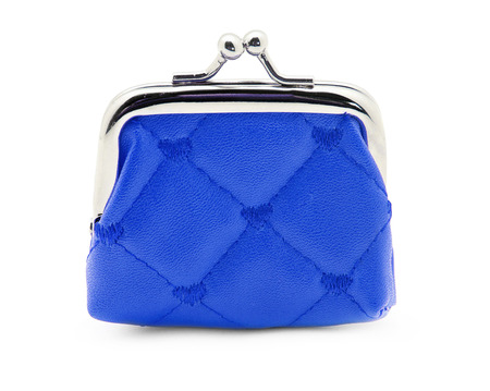 Blue purse on white background