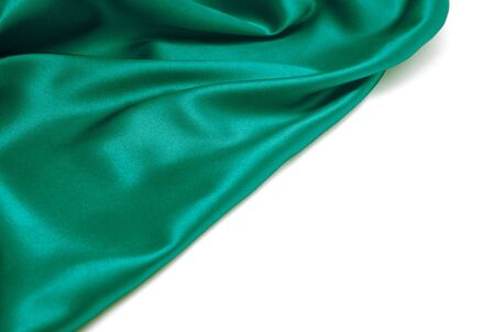 Green silk drape isolated on white