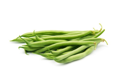 snap bean: Few green french beans isolated on the white background