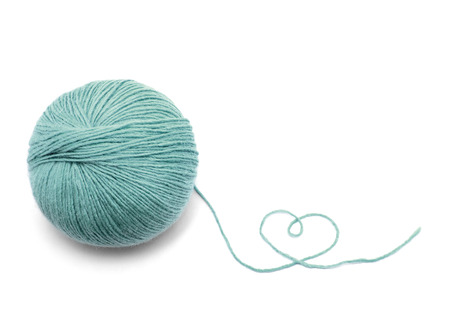 Green Yarn Ball on white background