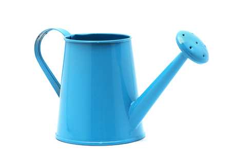 Blue watering can isolated on a white background. Reklamní fotografie - 77684938