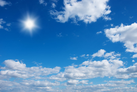 Sun in blue sky.