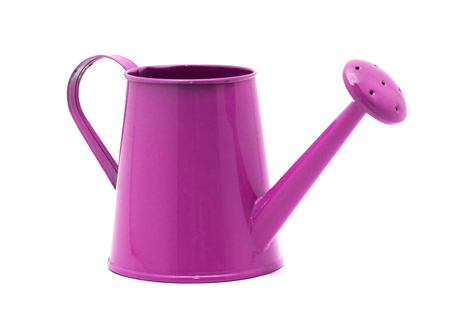 Pink watering can isolated on a white background Foto de archivo