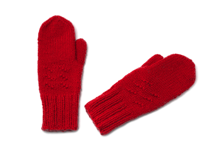 Red mittens isolated on white background 写真素材