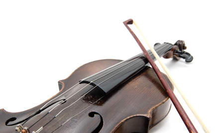 Violin and bow on white background Stock Photo