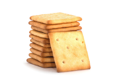 stack of square crackers isolated on white background. Stock Photo