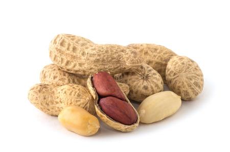 Dried peanuts on the white background. Reklamní fotografie