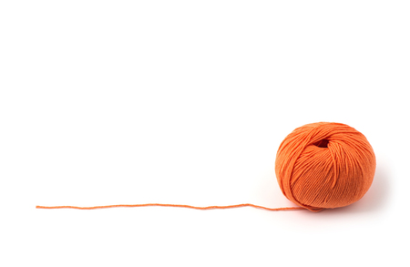 Ball of yarn on white background Imagens