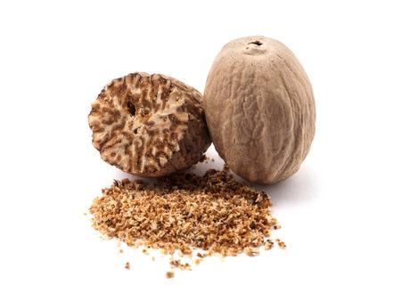 nutmeg isolated on white background 스톡 콘텐츠
