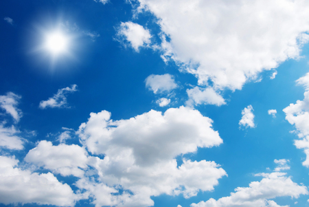 blue sky background with white clouds Imagens