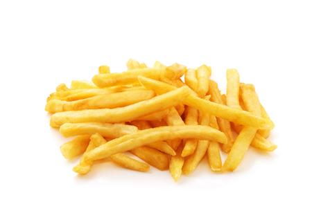 frittura di patate su sfondo bianco isolato